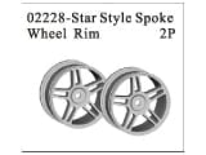Chrome Star Spoke Wheel Rims 2p (02228)
