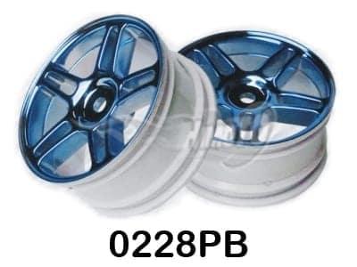 Blue Chrome Star Spoke Wheel Rims 2p (02228)