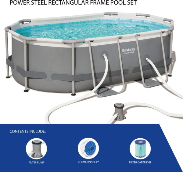 Power Steel Pool – 56617 – 9ft 10in X 6ft 7in X 33in By Bestway