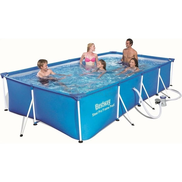 Bestway 56424 Rectangular Frame Swimming Pool With Filter Pump Steel Pro 13.1 Ft