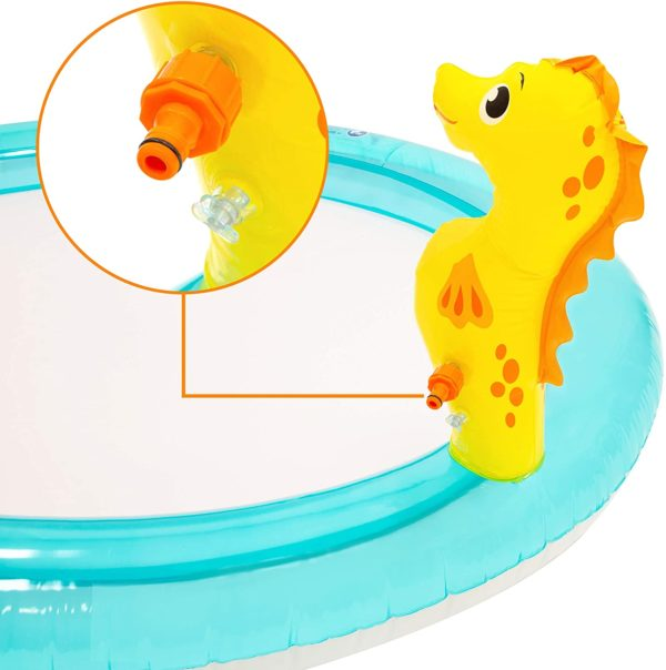 Inflatable Seahorse Play Paddling Pool With Water Spray And Slide And Toys