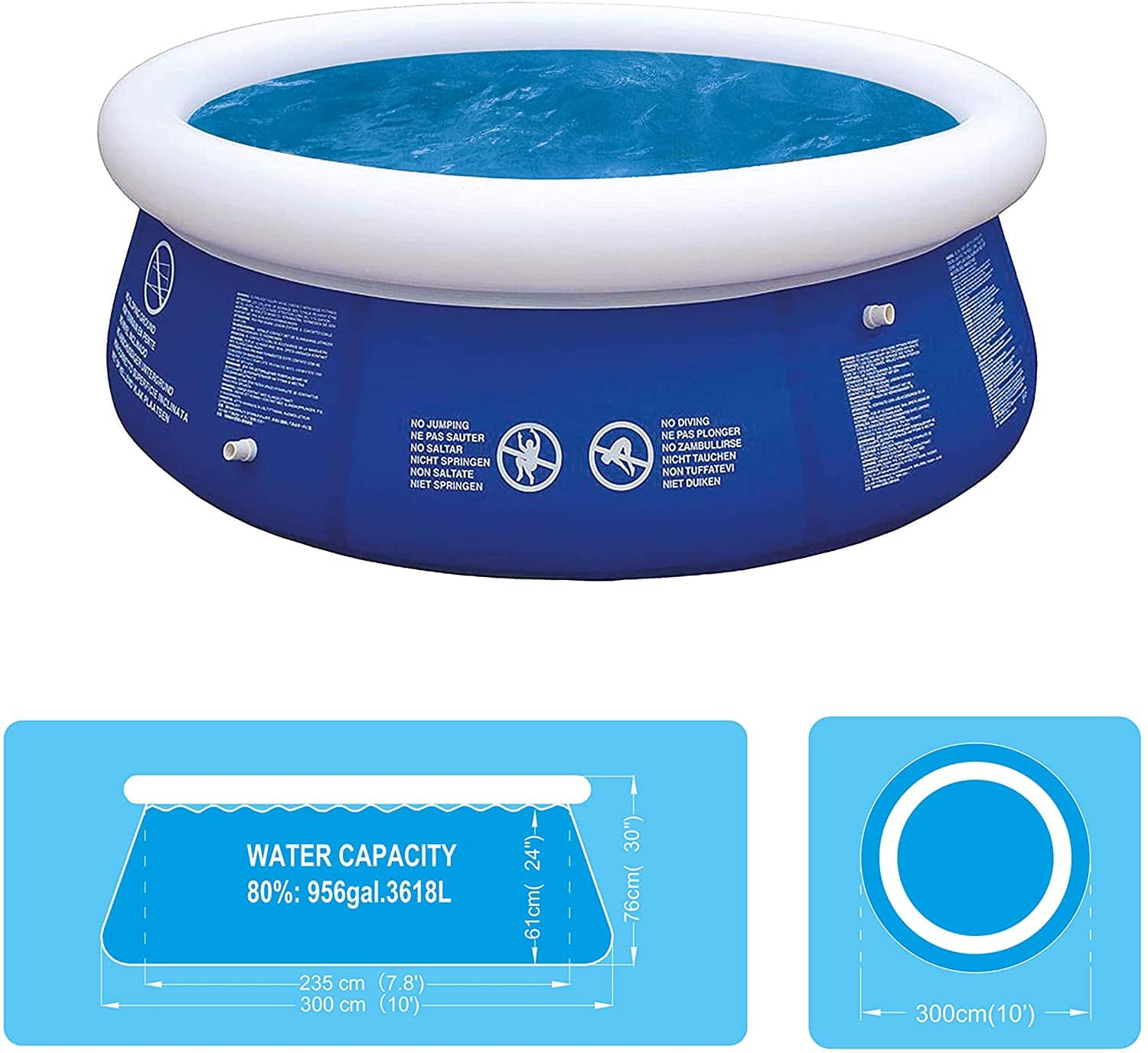 10ft Round Inflatable Fast Set Garden Swimming Pool (extra Large)