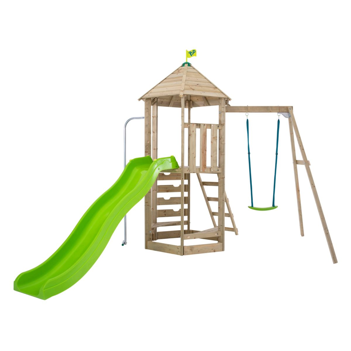 Tp Castlewood Sherborne Single Wooden Swing Set & Crazywavy Slide
