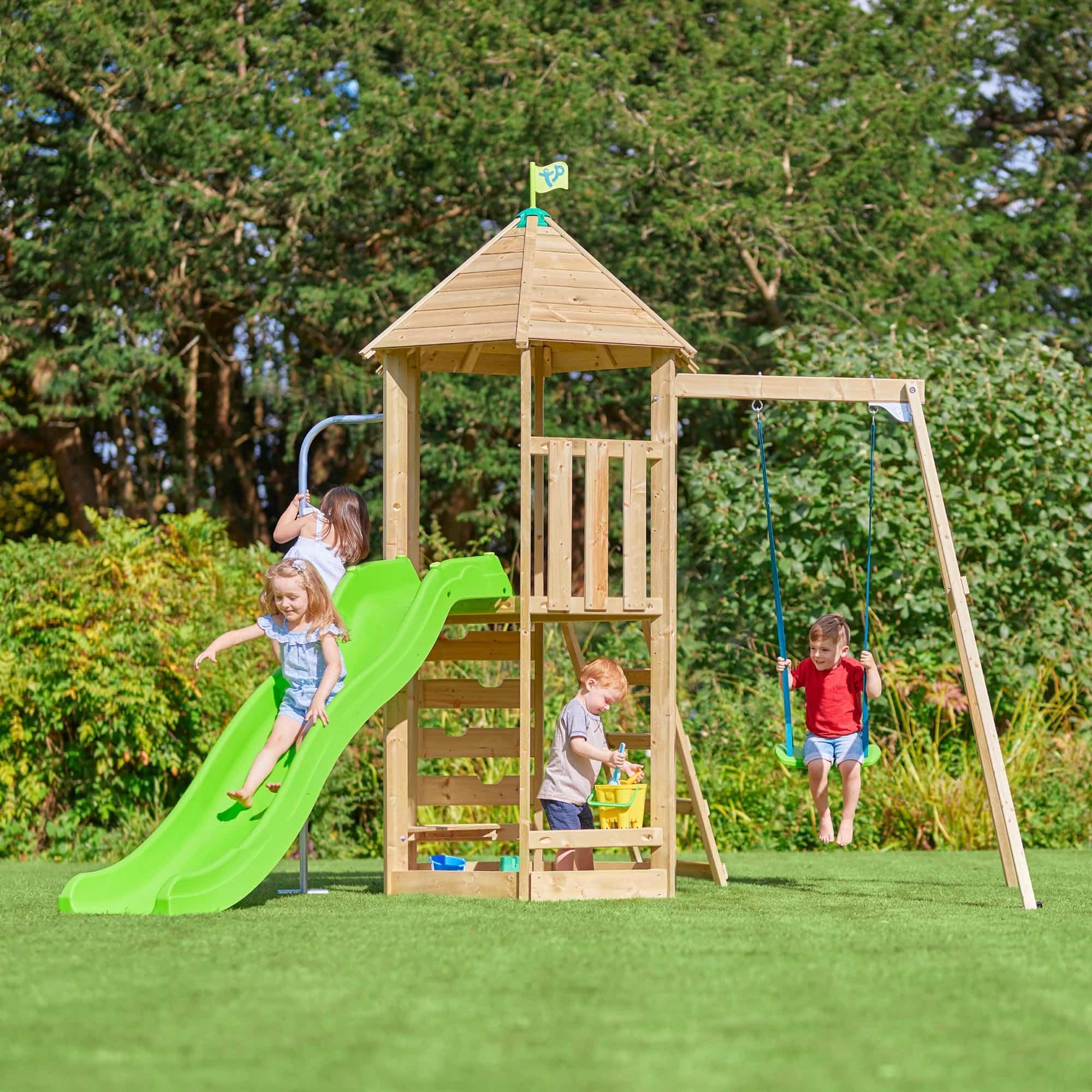 Tp Castlewood Sherborne Single Wooden Swing Set & Crazywavy Slide