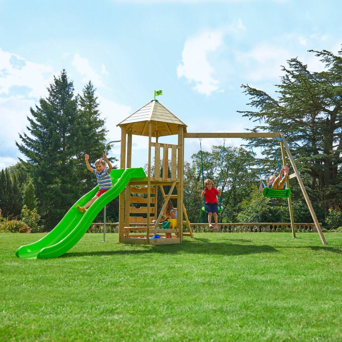 Tp Castlewood Beeston Wooden Swing Set & Slide-fsc?