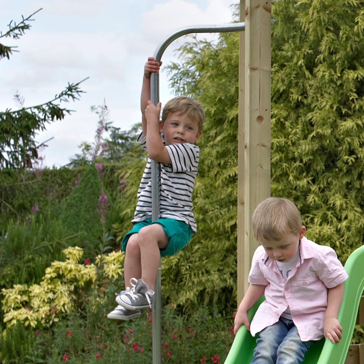 Tp Castlewood Warwick Wooden Climbing Frame & Slide-fsc?