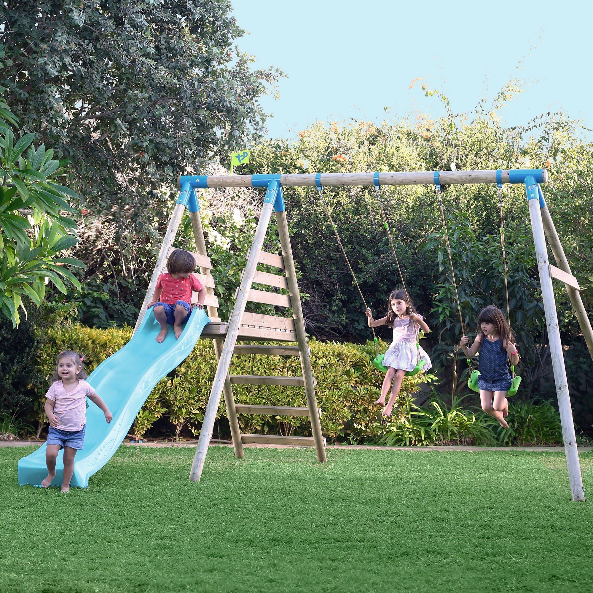 Tp Brecon Wooden Double Swing Set & Slide-fsc?