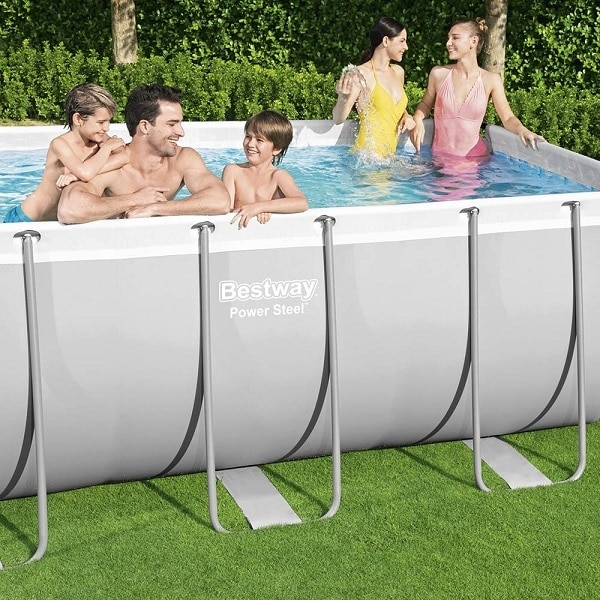 Bestway 56441 Steel Rectangular Frame Pool With Pump – 13ft 3in X 6ft 7in X 39.5in