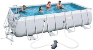 Bestway 56465 18Ft Pro Silver Rectangle Framed Swimming Pool