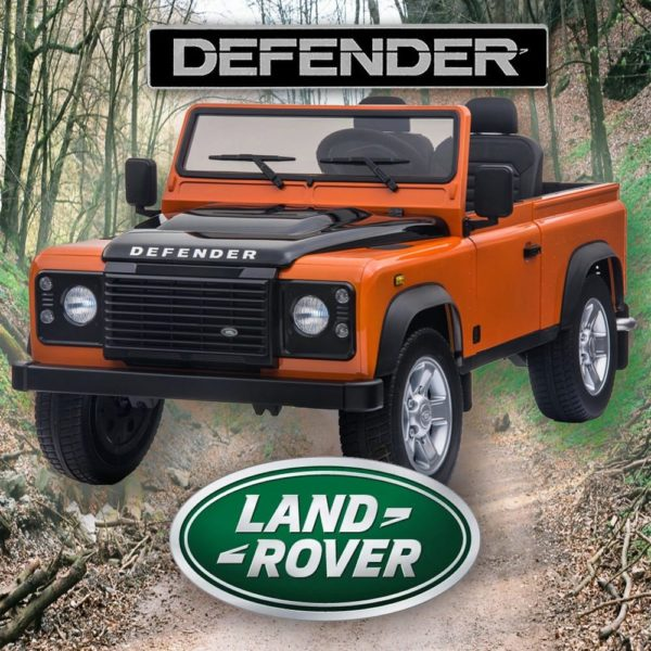 Licensed 24v Land Rover Defender 90 4wd Ride Jeep – Orange