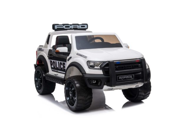 Ford Ranger Raptor Police Licensed 4wd 12v Battery Ride On Jeep –  White
