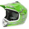 Kids Motocross Mx Open Face Helmet Green