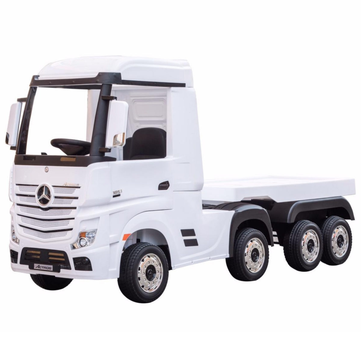 Mercedes Actros 24v* Electric Kids Truck With Trailer – White