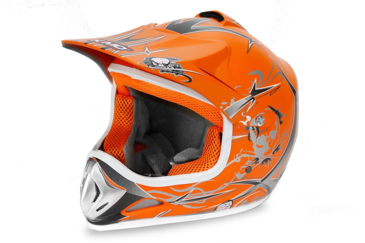 Kids Motocross Mx Open Face Helmet Orange