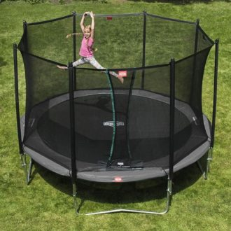 The Berg Favorit 380 Grey Trampoline With Safety Net Comfort is hard-wearing.