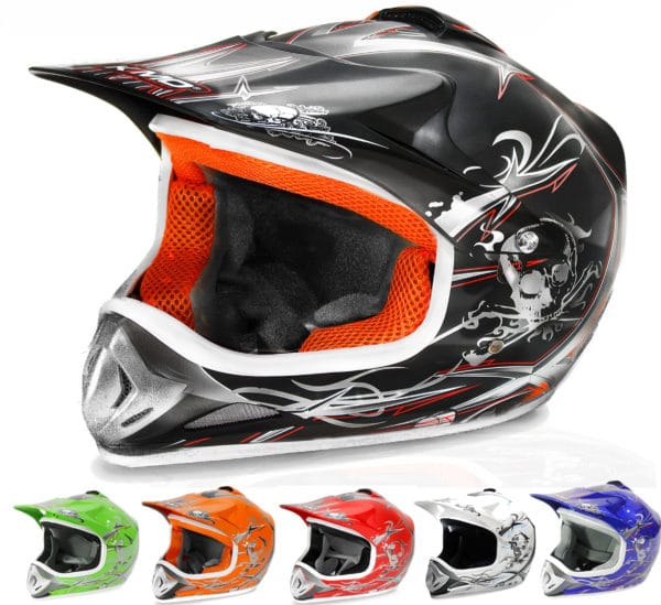 Kids Motocross Mx Open Face Helmet Black