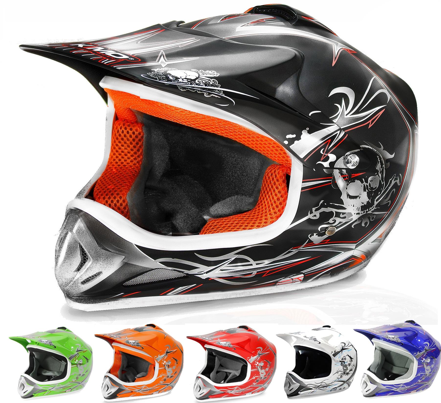 Kids Motocross Mx Open Face Helmet Black