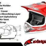 Kids Motocross Mx Open Face Helmet Red