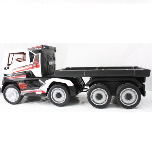 Electric Kids Lorry True 24v With Truck Trailer – White