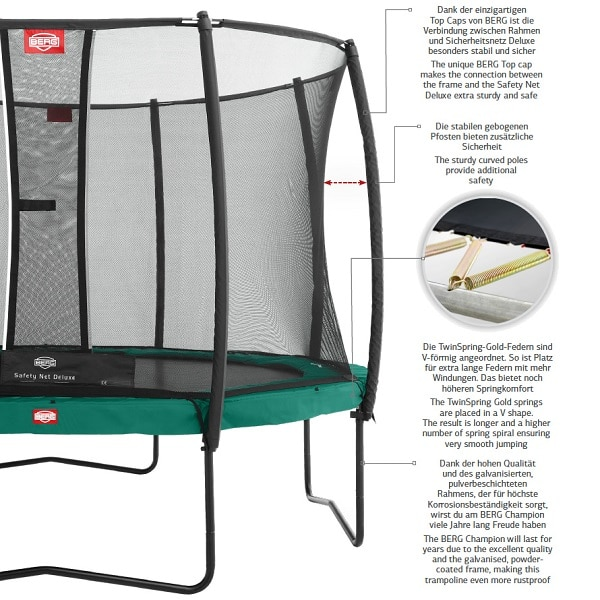 Berg Champion 330 Trampoline Grey With Safety Net Comfort