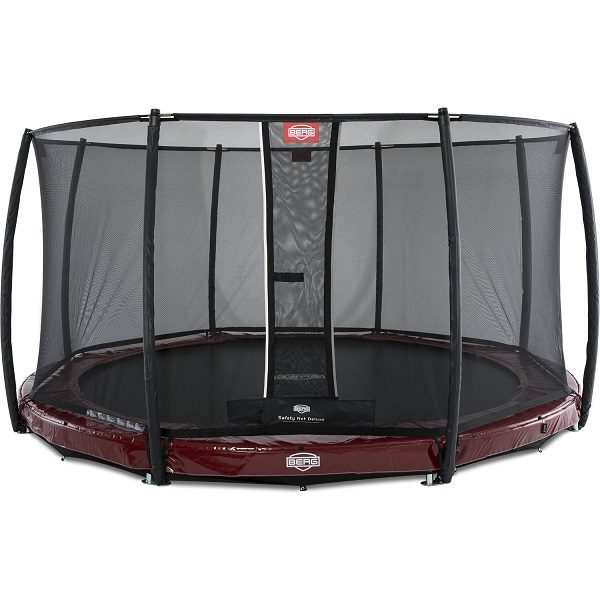 Berg Elite Inground 430 Trampoline Red With Safety Net Deluxe