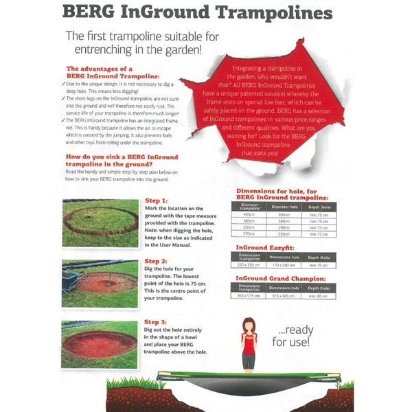 Berg Elite Inground 430 Trampoline Green With Safety Net Deluxe