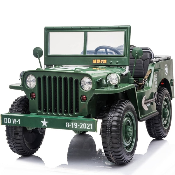 Kids Electric Jeep 3 Seater Vintage Style 4wd Green