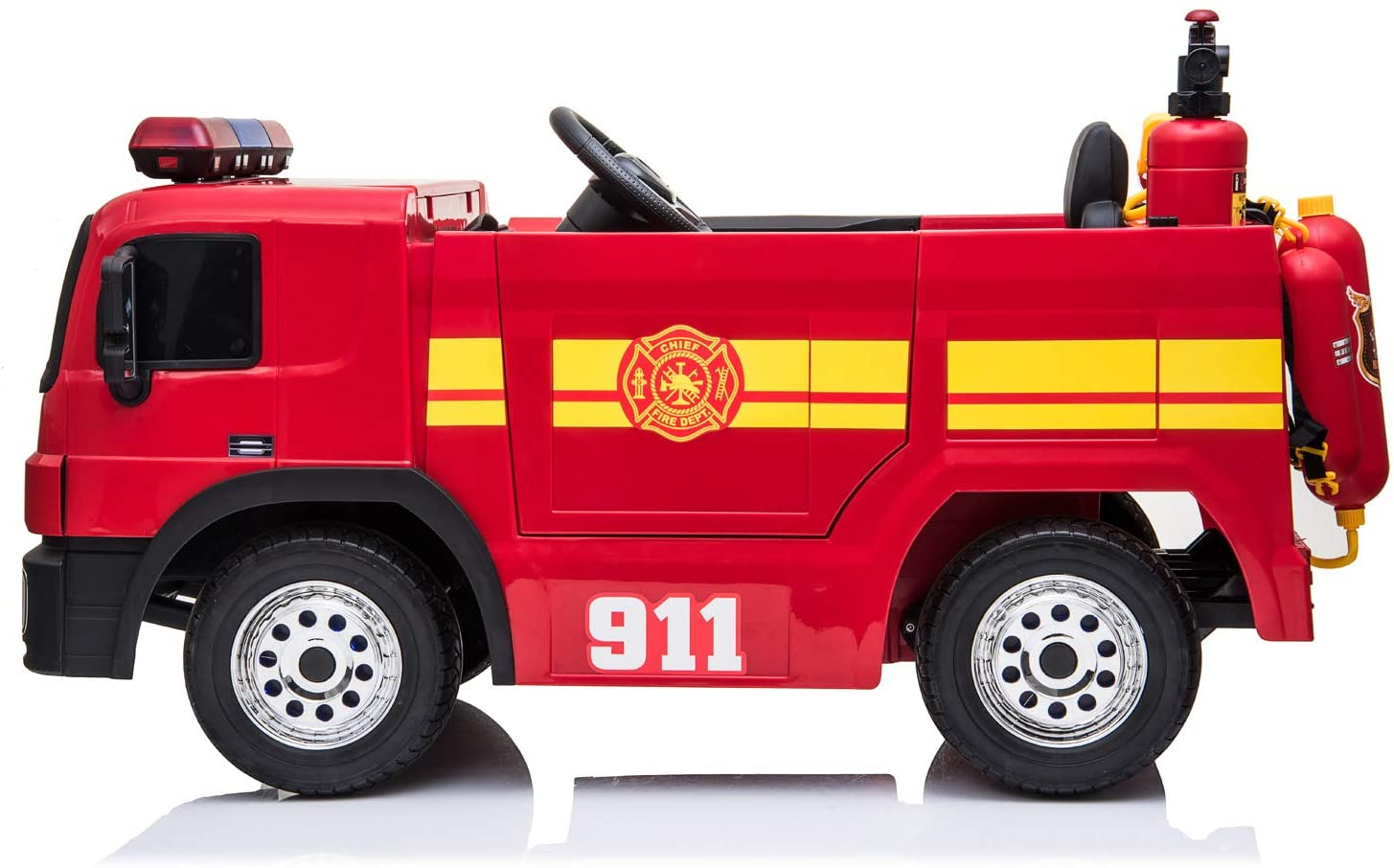 12v Children's Ride On Fire Engine With Hat And Water Hose