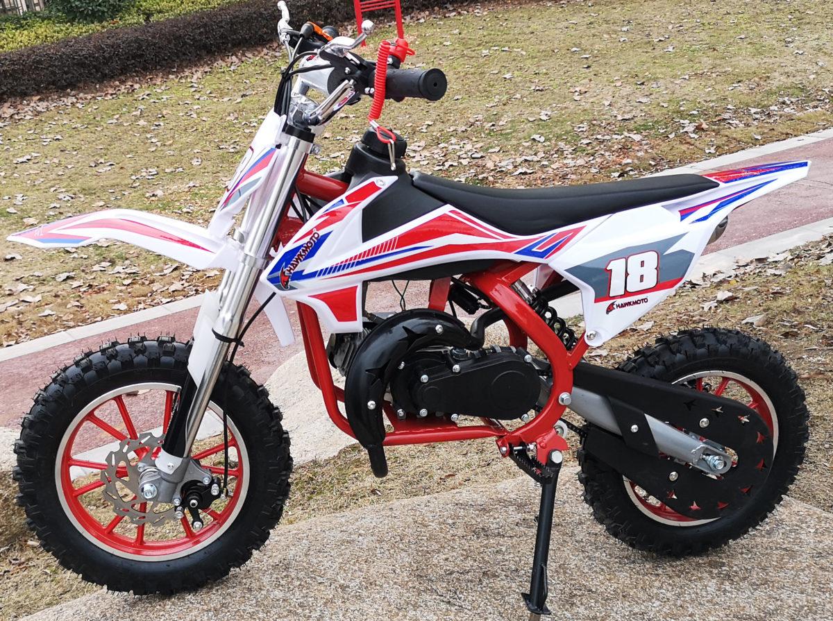 Hawkmoto Strike V2 50cc Kids Mini Dirt Bike Red