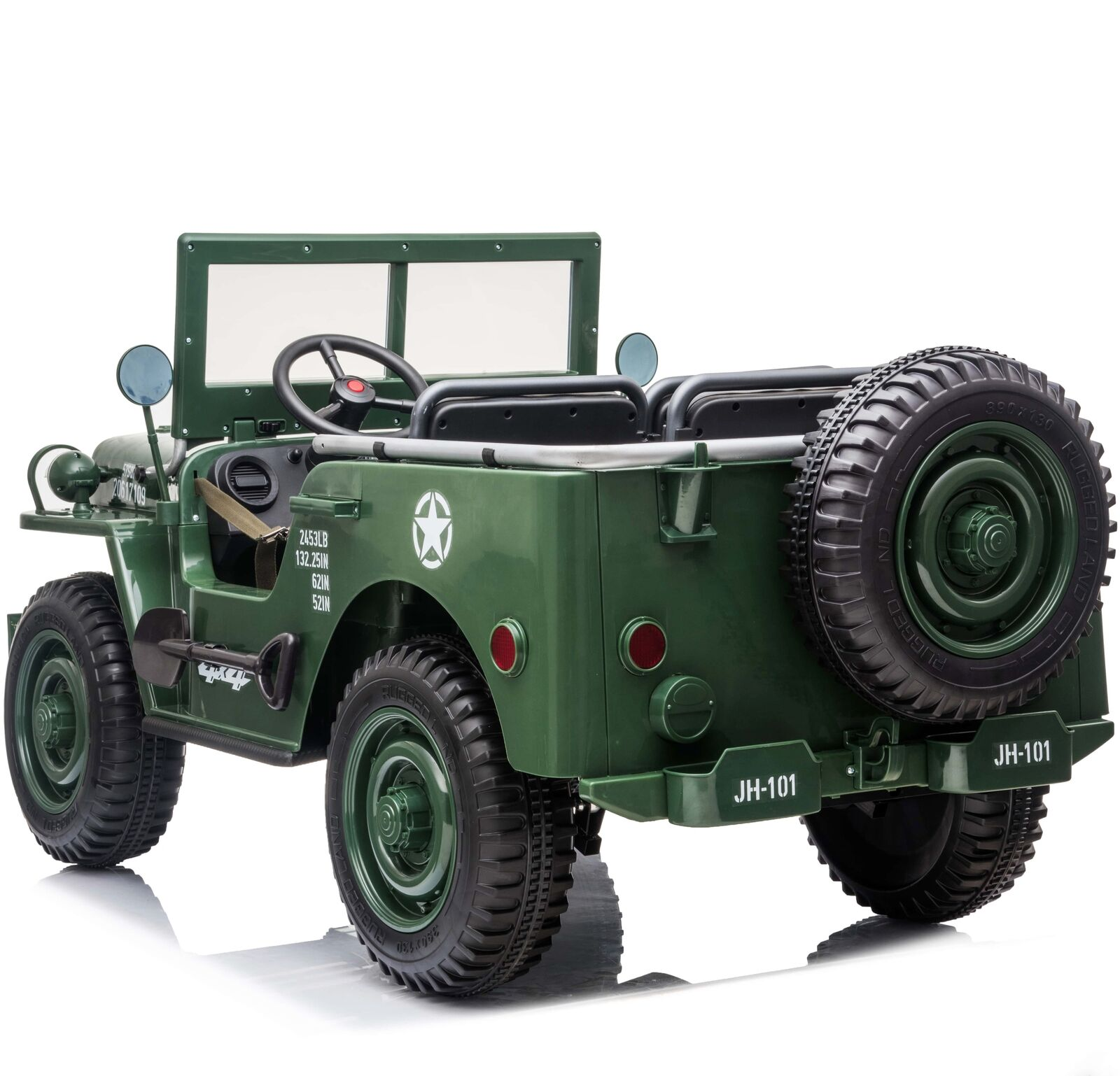 3 Seater Vintage Style 4wd Ride On Children's Classic Safari Jeep Green