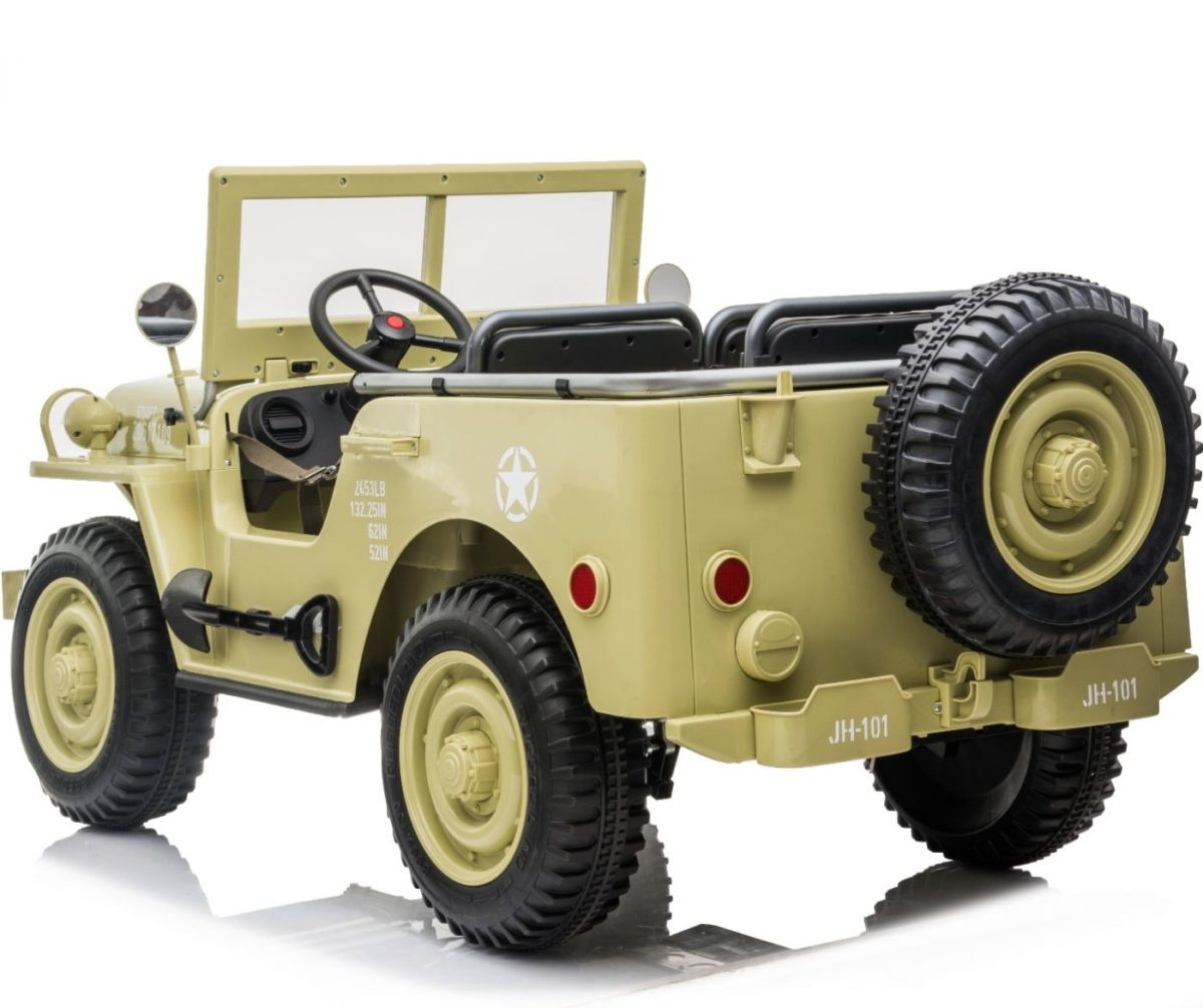 3 Seater Vintage Style 4wd Ride On Children's Classic Safari Army Jeep – Desert