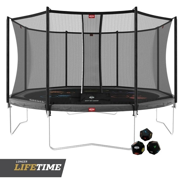 Berg Favorit 430 Grey Trampoline Levels With Comfort Net