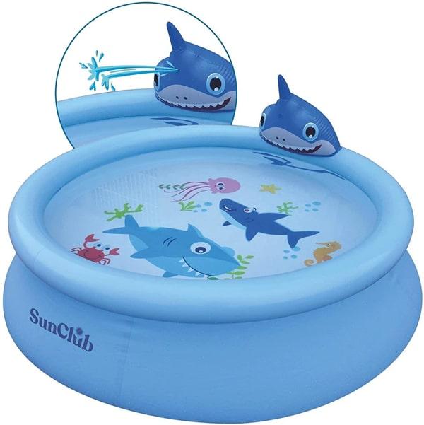 Sun Club Large 75in Water Spraying 3d Shark Kids Paddling Pool