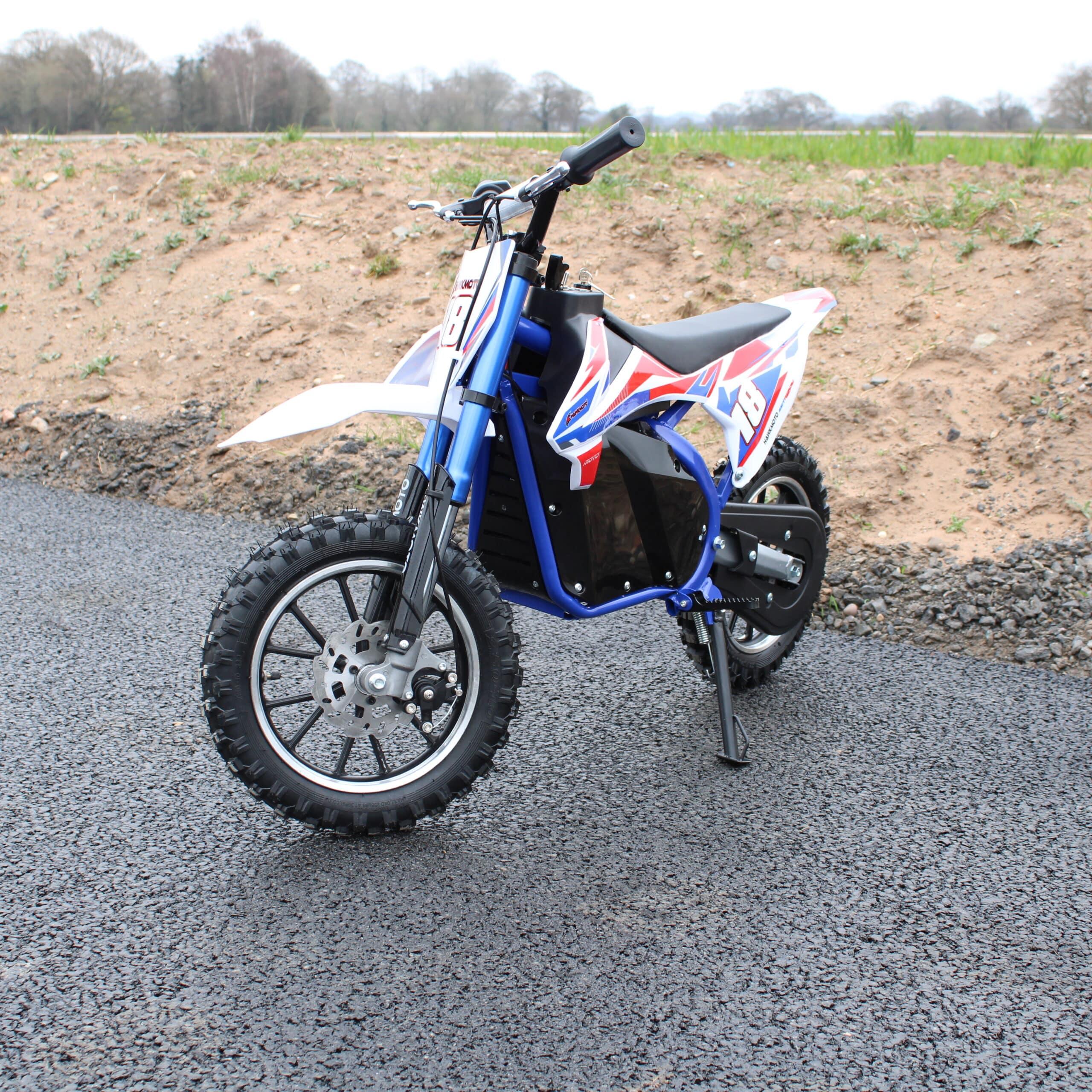 Hawkmoto Electric Mini Dirt Bike Pro Version With 500w 36v Li-ion Battery Blue