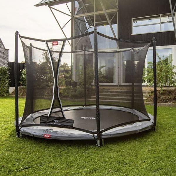 Berg Round Favorit Inground 200 (6.5ft) Trampoline + Safety Net Comfort – Grey