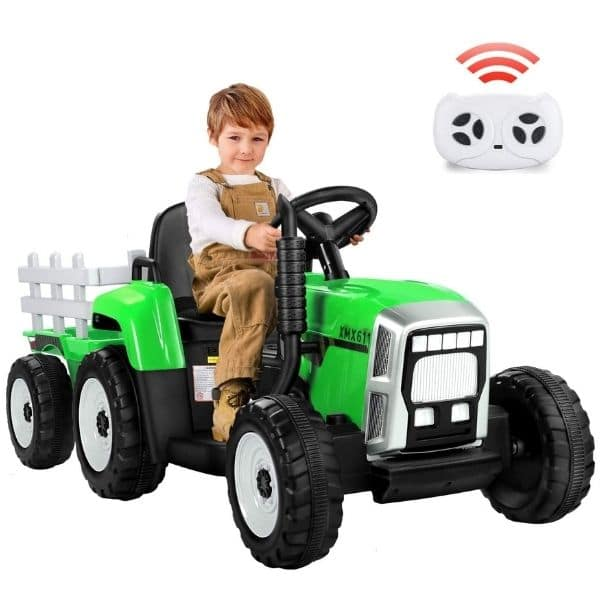 12V-Kids-Electric-Tractor-with-Trailer-and-Remote-Green-1