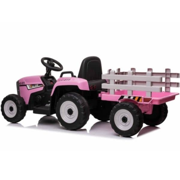 12V-Kids-Electric-Tractor-with-Trailer-and-Remote-Pink-1