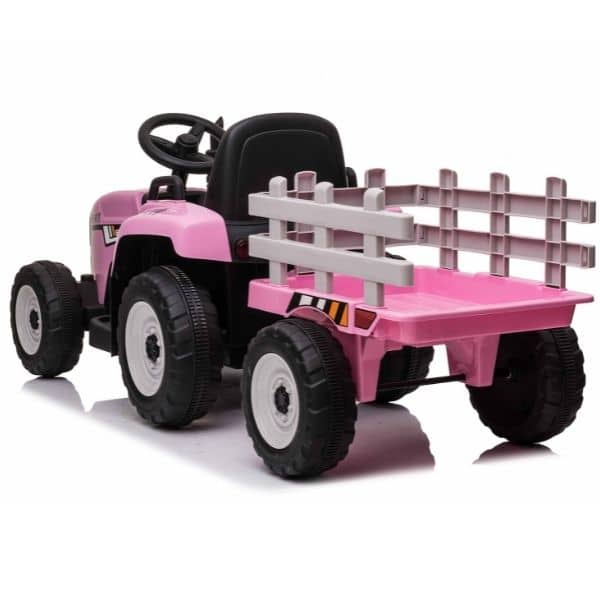 12V-Kids-Electric-Tractor-with-Trailer-and-Remote-Pink-2
