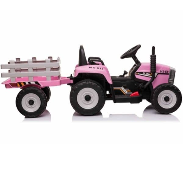 12V-Kids-Electric-Tractor-with-Trailer-and-Remote-Pink-3
