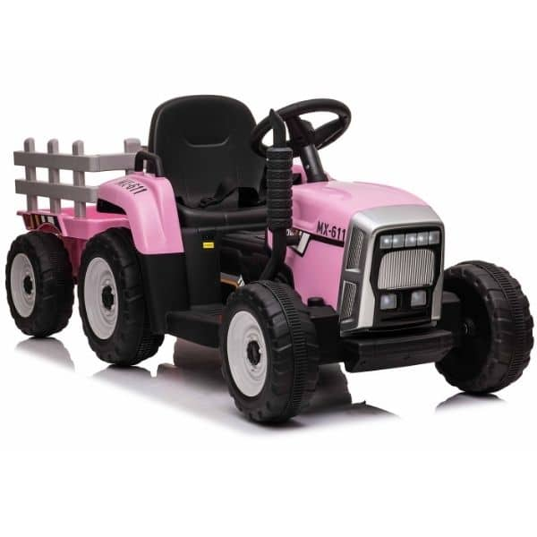 12V-Kids-Electric-Tractor-with-Trailer-and-Remote-Pink-4