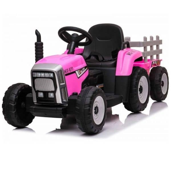 12V-Kids-Electric-Tractor-with-Trailer-and-Remote-Pink-6