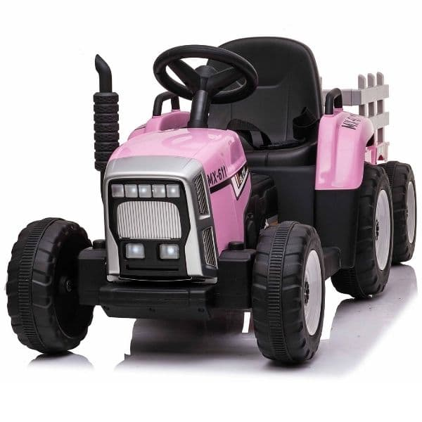 12V-Kids-Electric-Tractor-with-Trailer-and-Remote-Pink-7