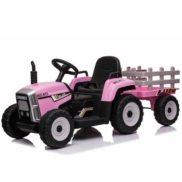 12V-Kids-Electric-Tractor-with-Trailer-and-Remote-Pink-8
